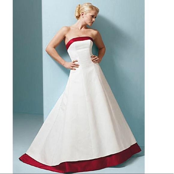 45606ccdec5 Alfred Angelo 1797 white wedding gown w  burgundy